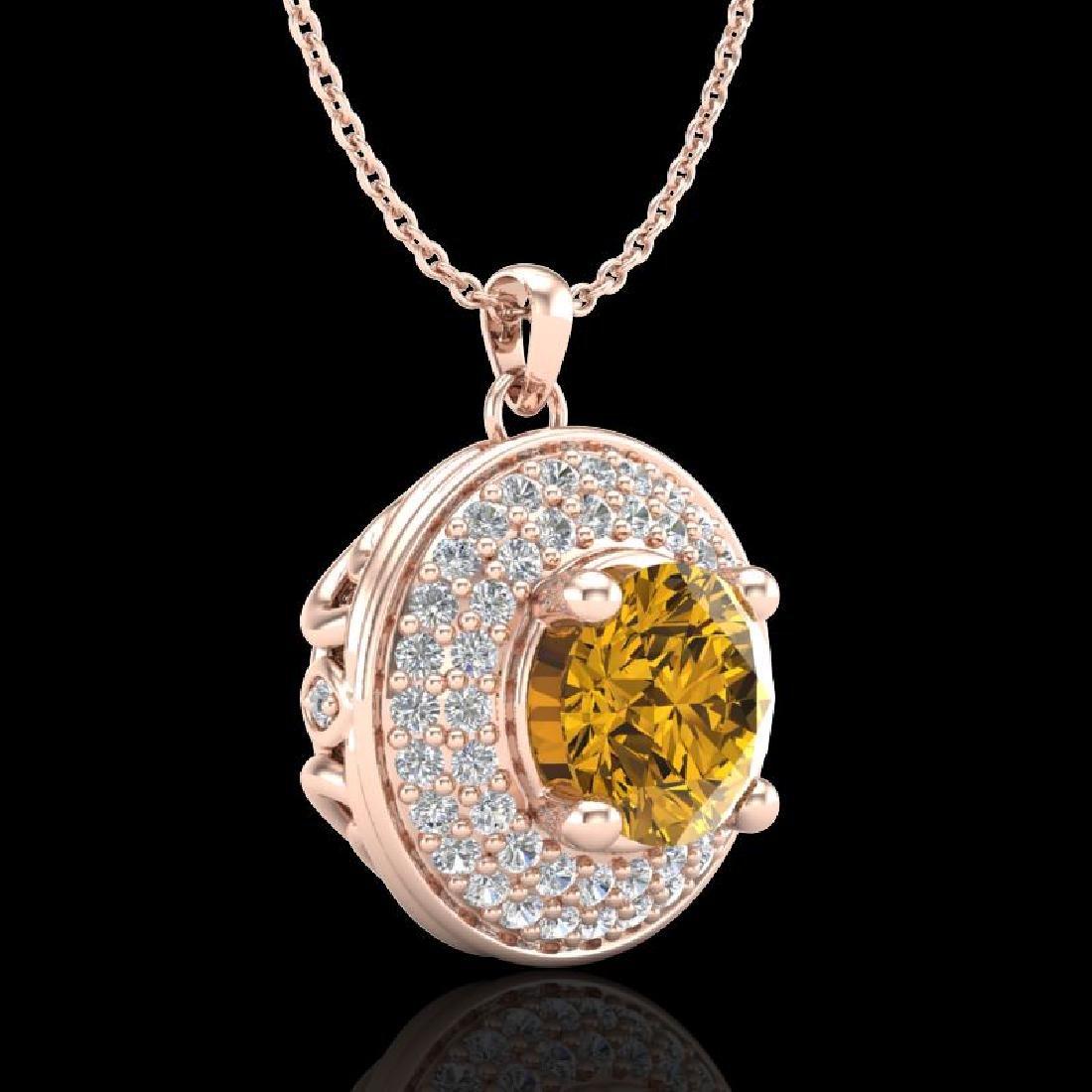 1.25 CTW Intense Fancy Yellow Diamond Art Deco Stud