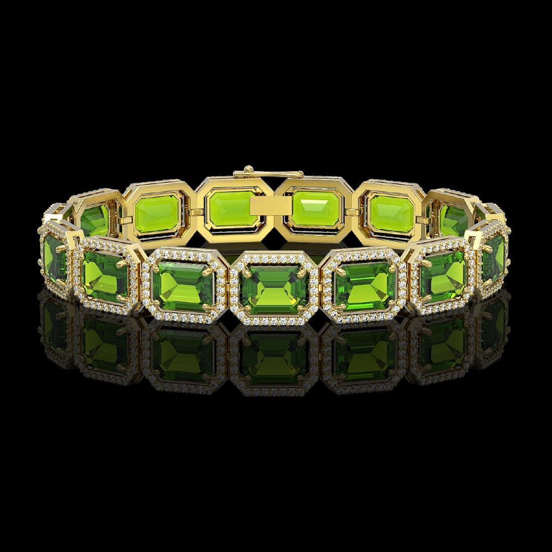 33.37 CTW Peridot & Diamond Halo Bracelet 10K Yellow