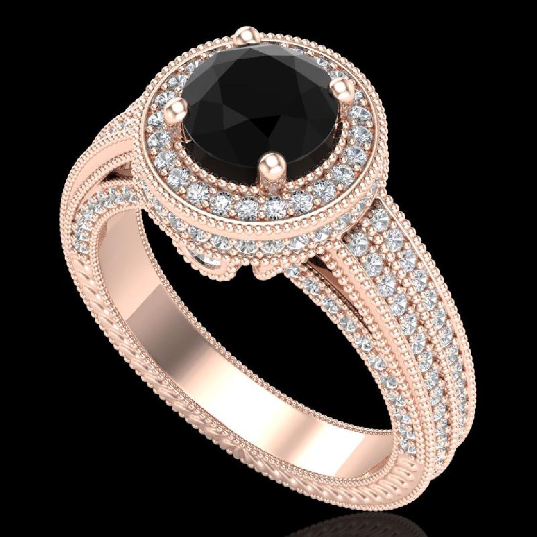 2.8 CTW Fancy Black Diamond Solitaire Engagement Art