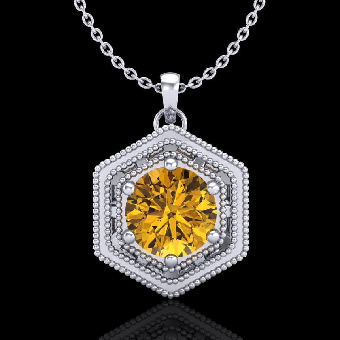 0.76 CTW Intense Fancy Yellow Diamond Art Deco Stud