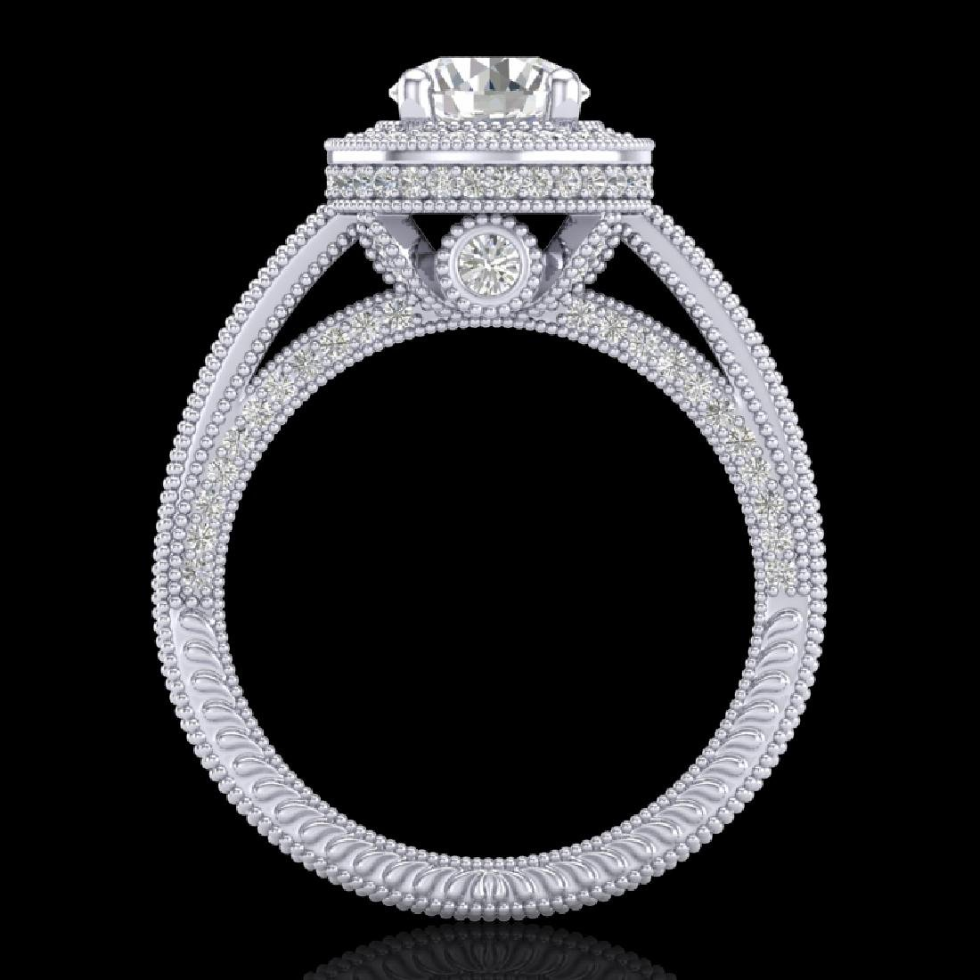 2.8 CTW VS/SI Diamond Solitaire Art Deco Ring 18K White