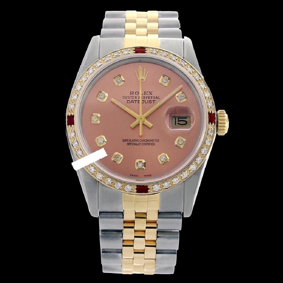 Rolex Men's Two Tone 14K Gold/SS, QuickSet, Diam Dial &
