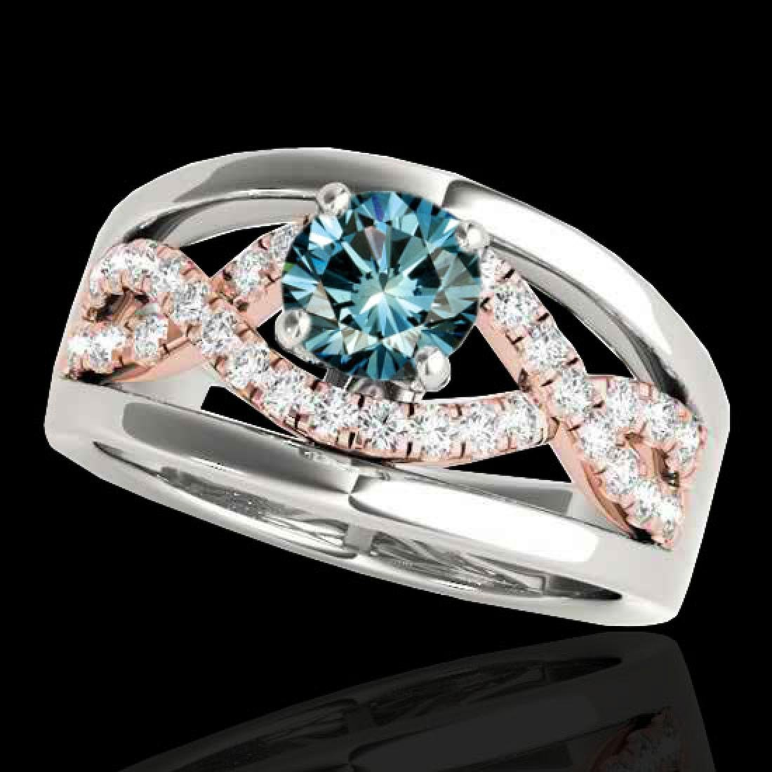 1.3 CTW SI Certified Fancy Blue Diamond Solitaire Ring