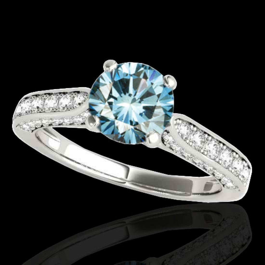 1.6 CTW SI Certified Fancy Blue Diamond Solitaire Ring