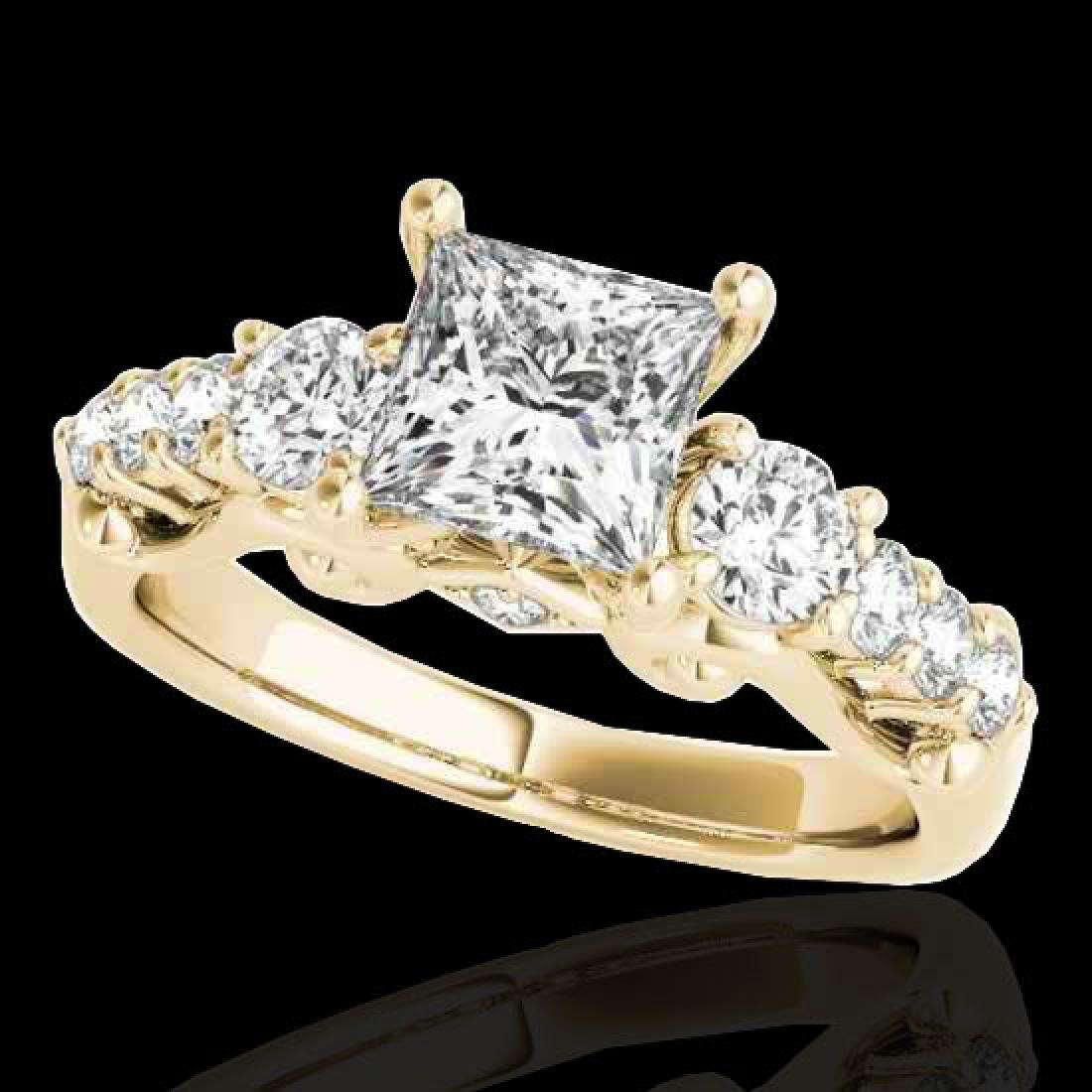 1.75 CTW VS/SI Certified Princess Diamond 3 Stone Ring