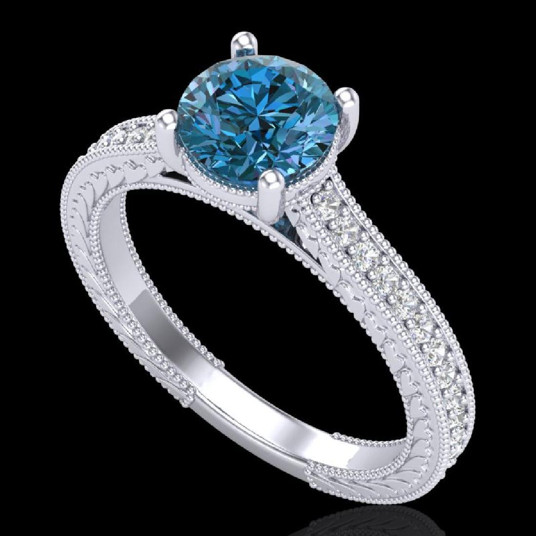 1.45 CTW Fancy Intense Blue Diamond Solitaire Art Deco