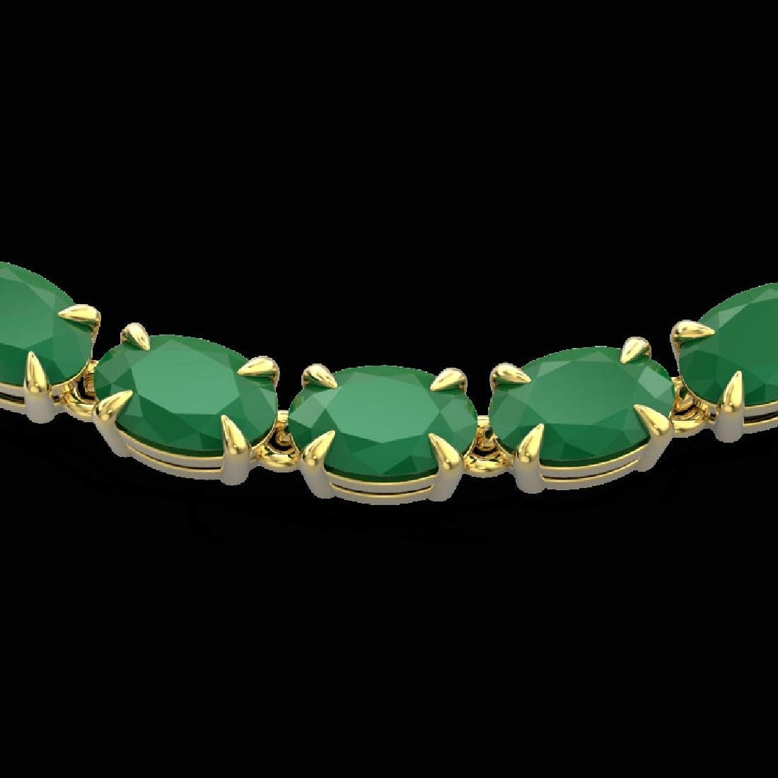 40 CTW Emerald Eternity Tennis Necklace 14K Yellow Gold
