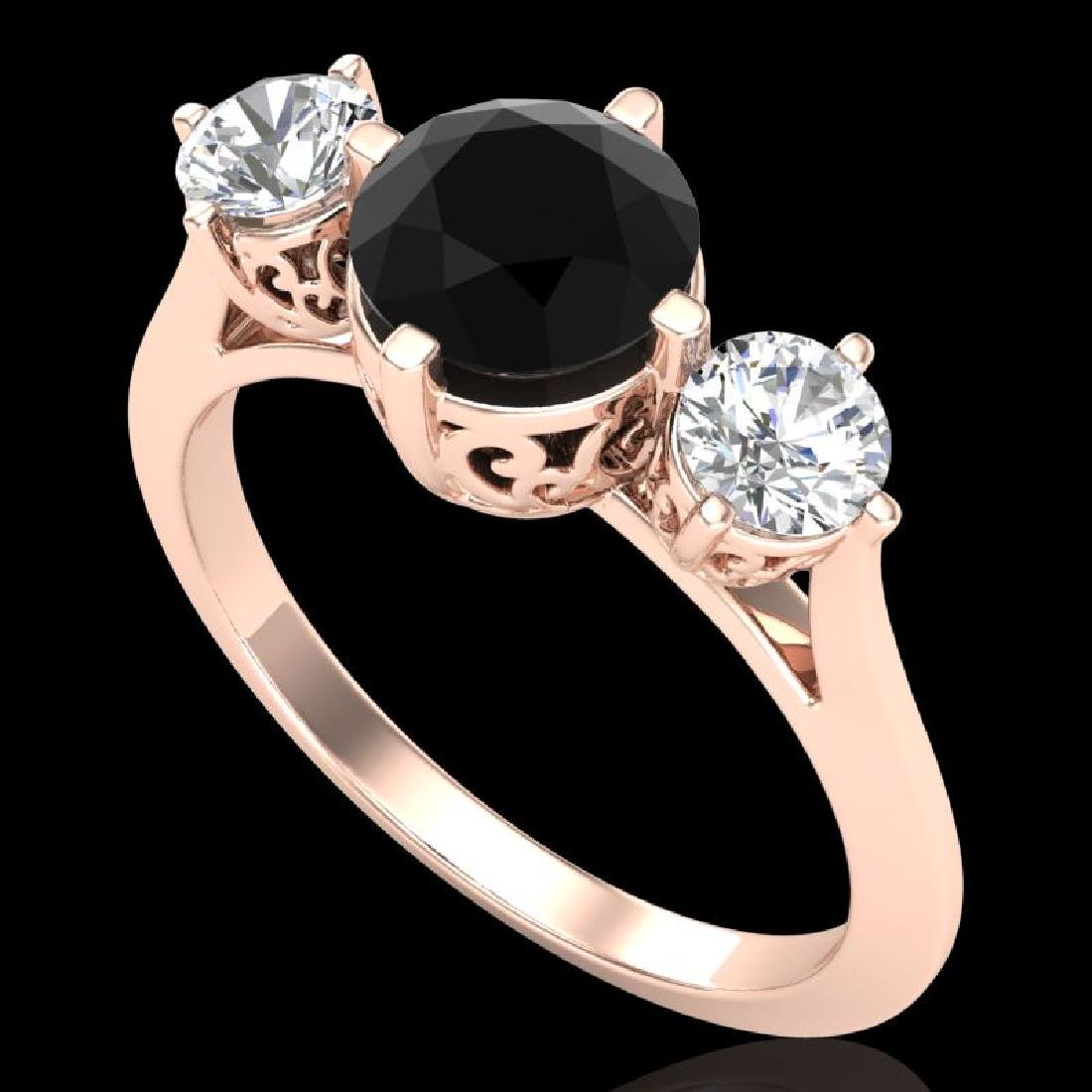 1.51 CTW Fancy Black Diamond Solitaire Art Deco 3 Stone