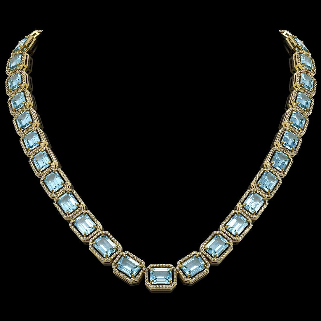 78.34 CTW Sky Topaz & Diamond Halo Necklace 10K Yellow