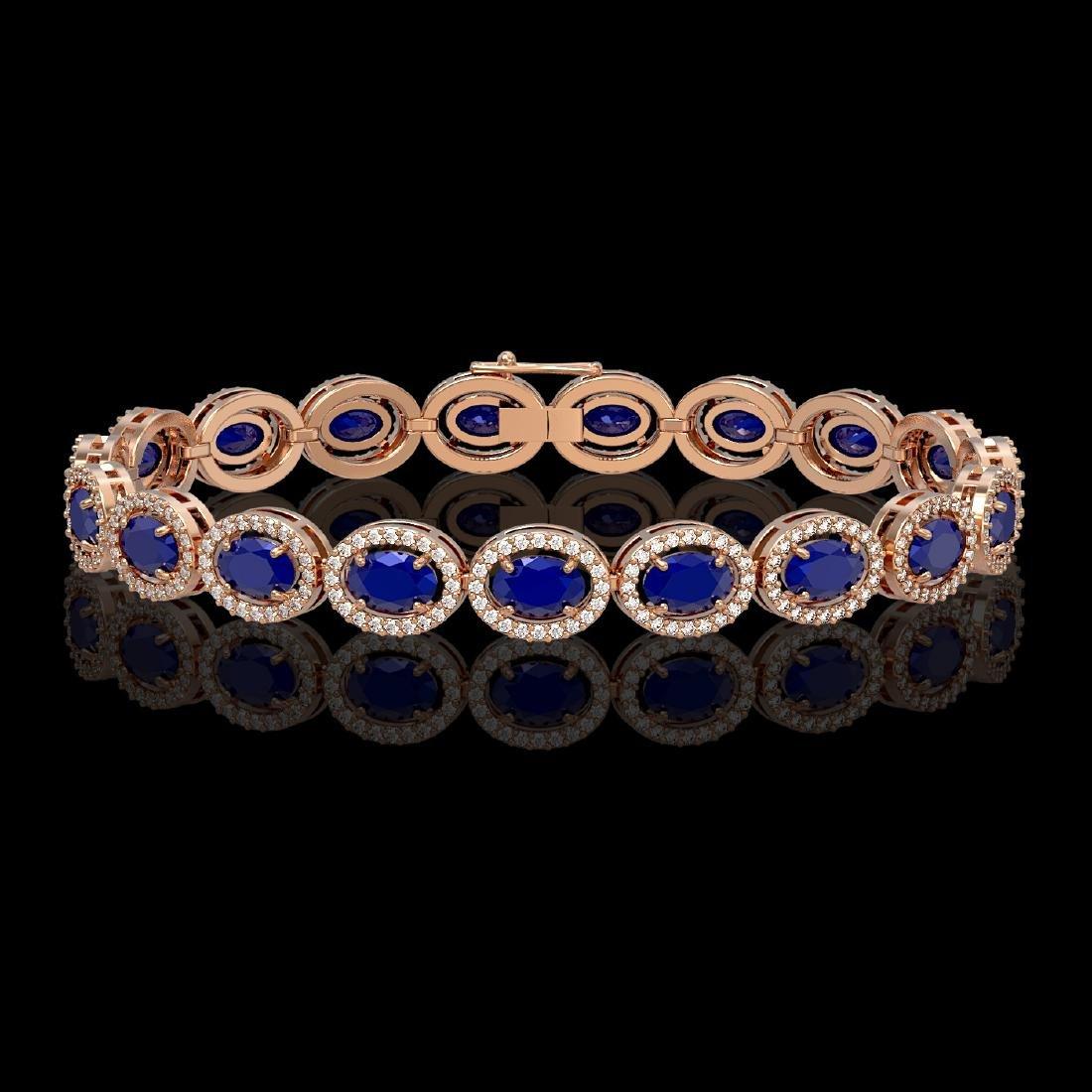 15.2 CTW Sapphire & Diamond Halo Bracelet 10K Rose Gold