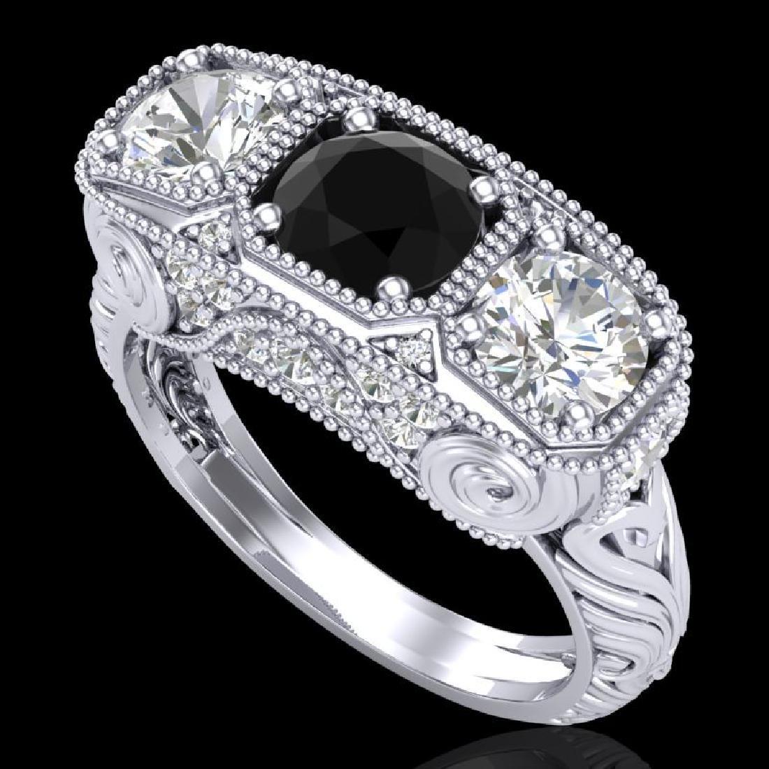 2.51 CTW Fancy Black Diamond Solitaire Art Deco 3 Stone