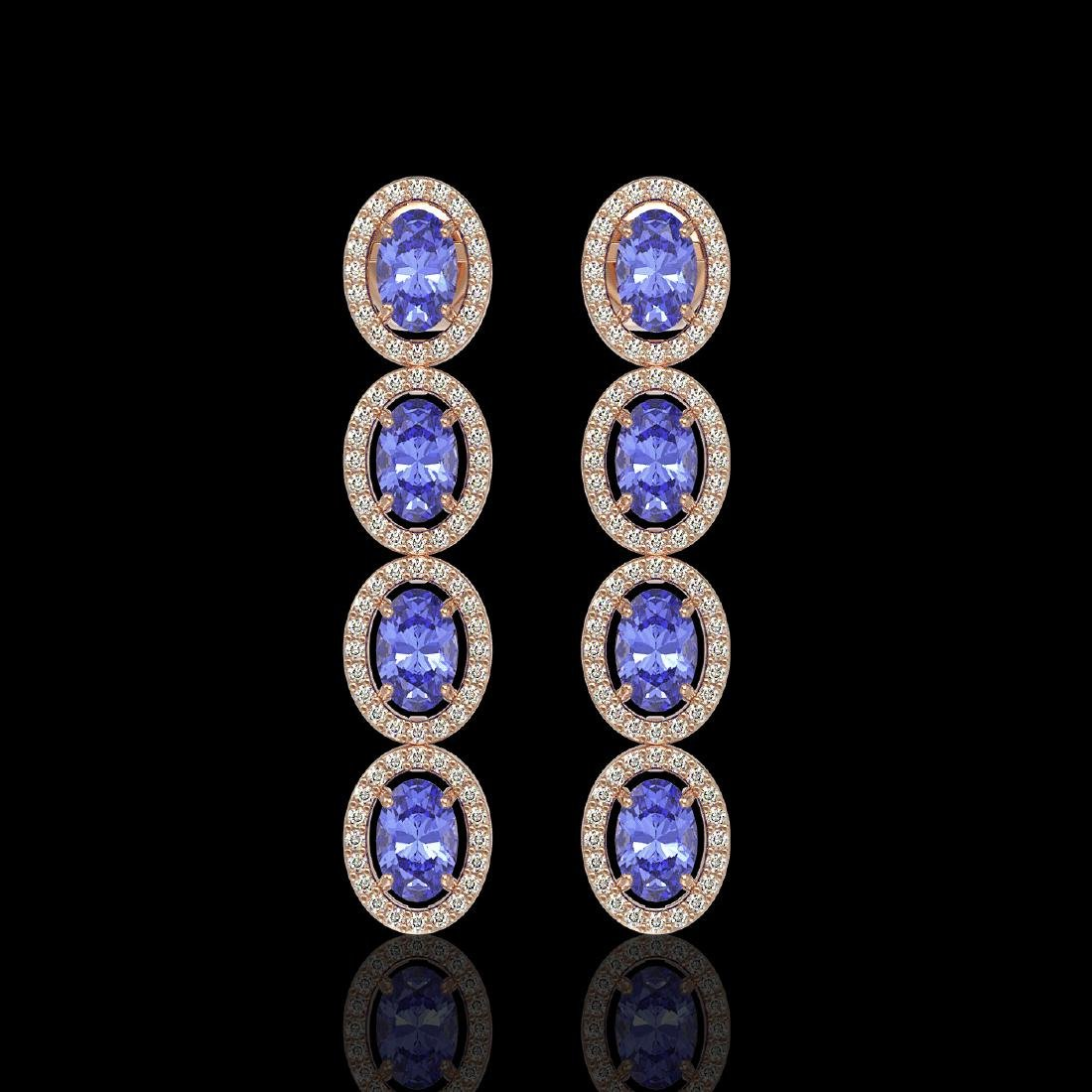 6.09 CTW Tanzanite & Diamond Halo Earrings 10K Rose