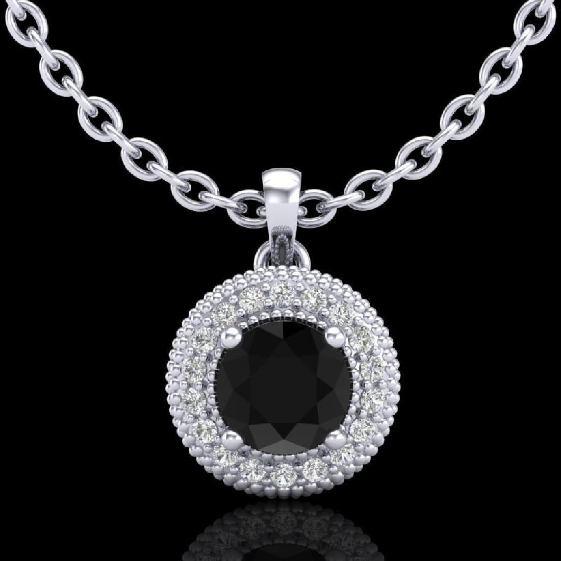 1 CTW Fancy Black Diamond Solitaire Art Deco Stud