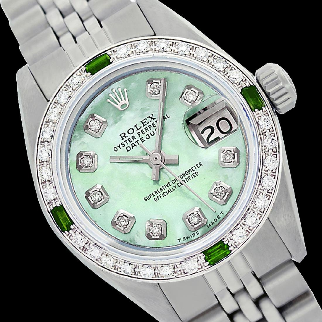 Rolex Ladies Stainless Steel, Diam Dial & Diam/Emerald