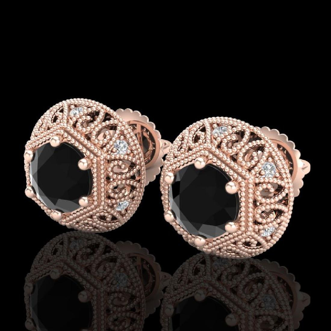 1.31 CTW Fancy Black Diamond Solitaire Art Deco Stud