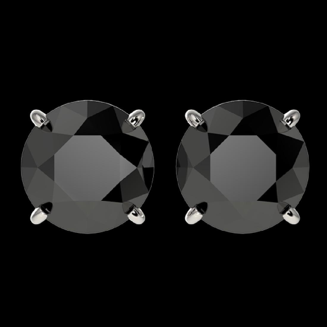 3 CTW Fancy Black VS Diamond Solitaire Stud Earrings
