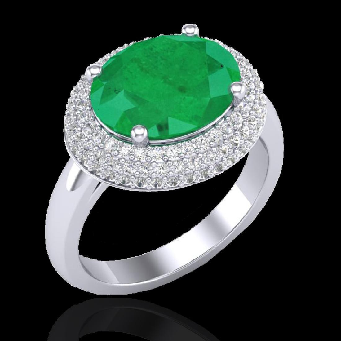 4.50 CTW Emerald & Micro Pave VS/SI Diamond Ring 18K