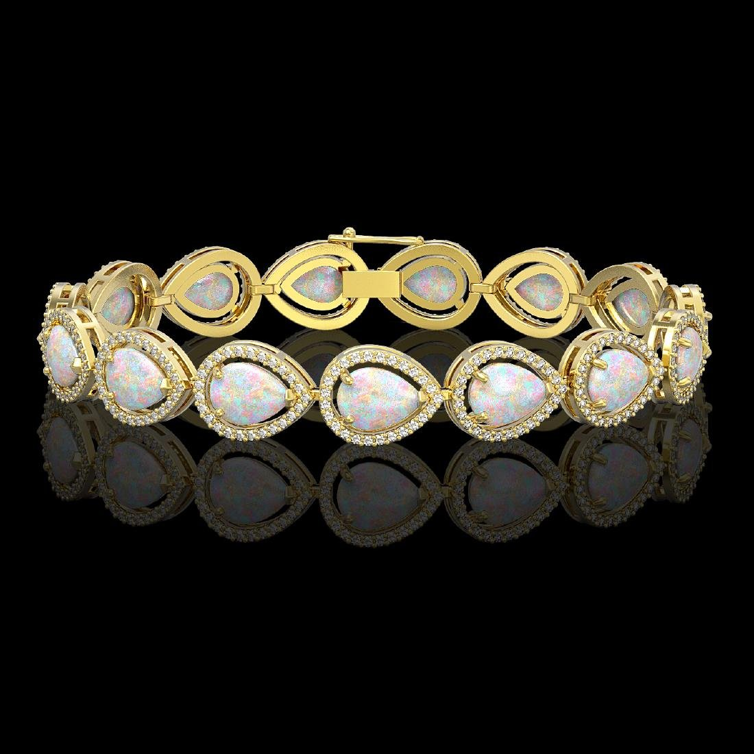 17.15 CTW Opal & Diamond Halo Bracelet 10K Yellow Gold