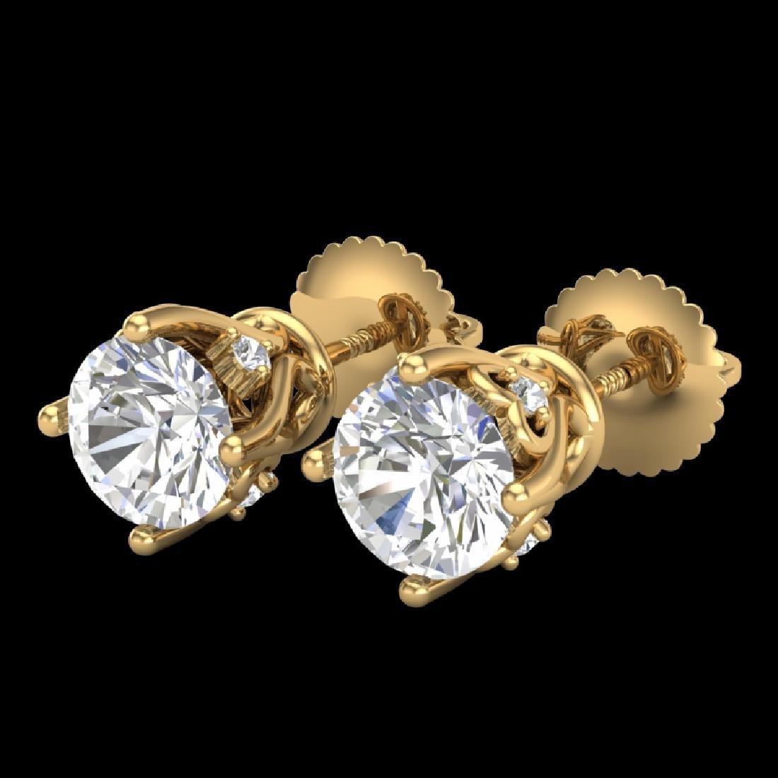 1.26 CTW VS/SI Diamond Solitaire Art Deco Stud Earrings