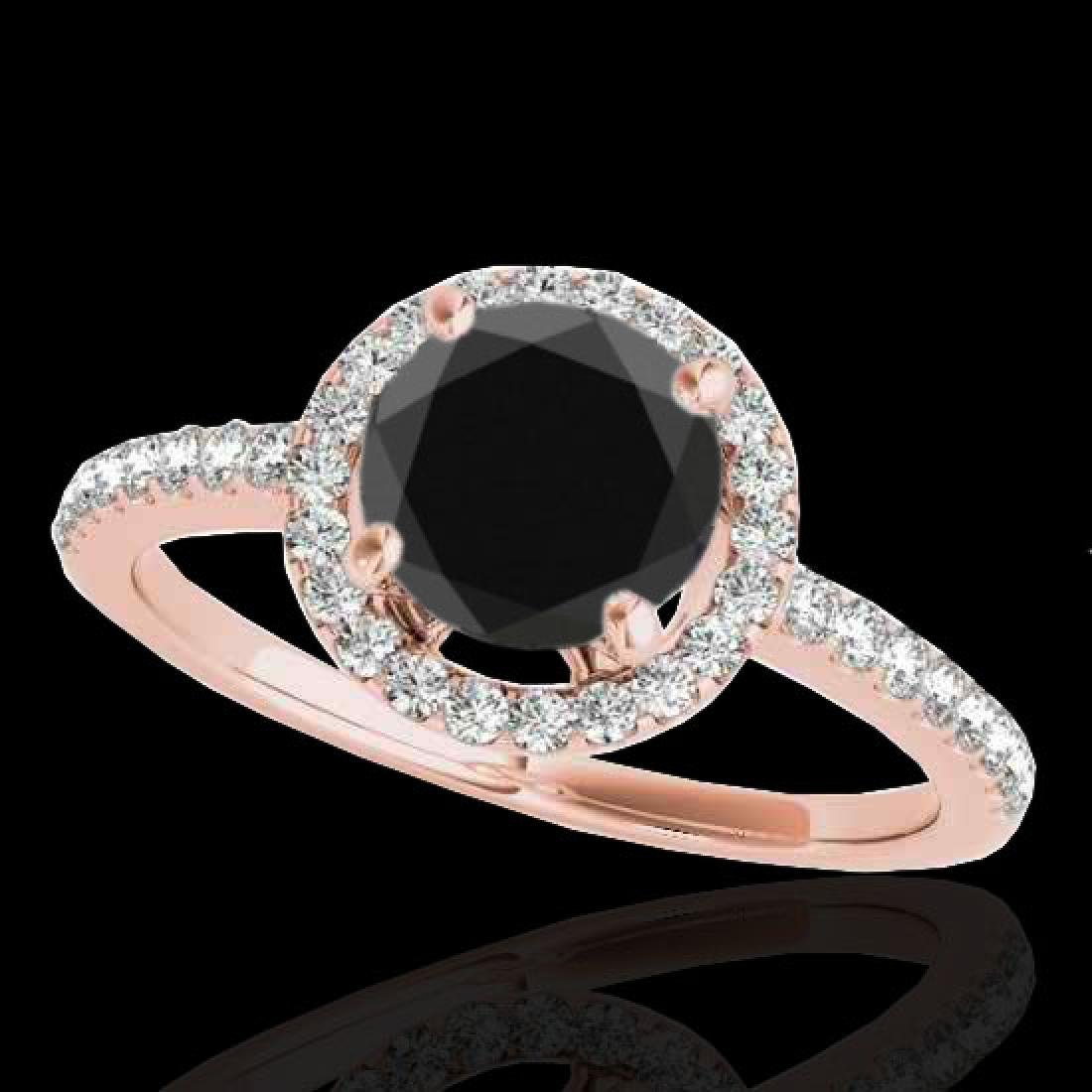 1.4 CTW Certified VS Black Diamond Solitaire Halo Ring