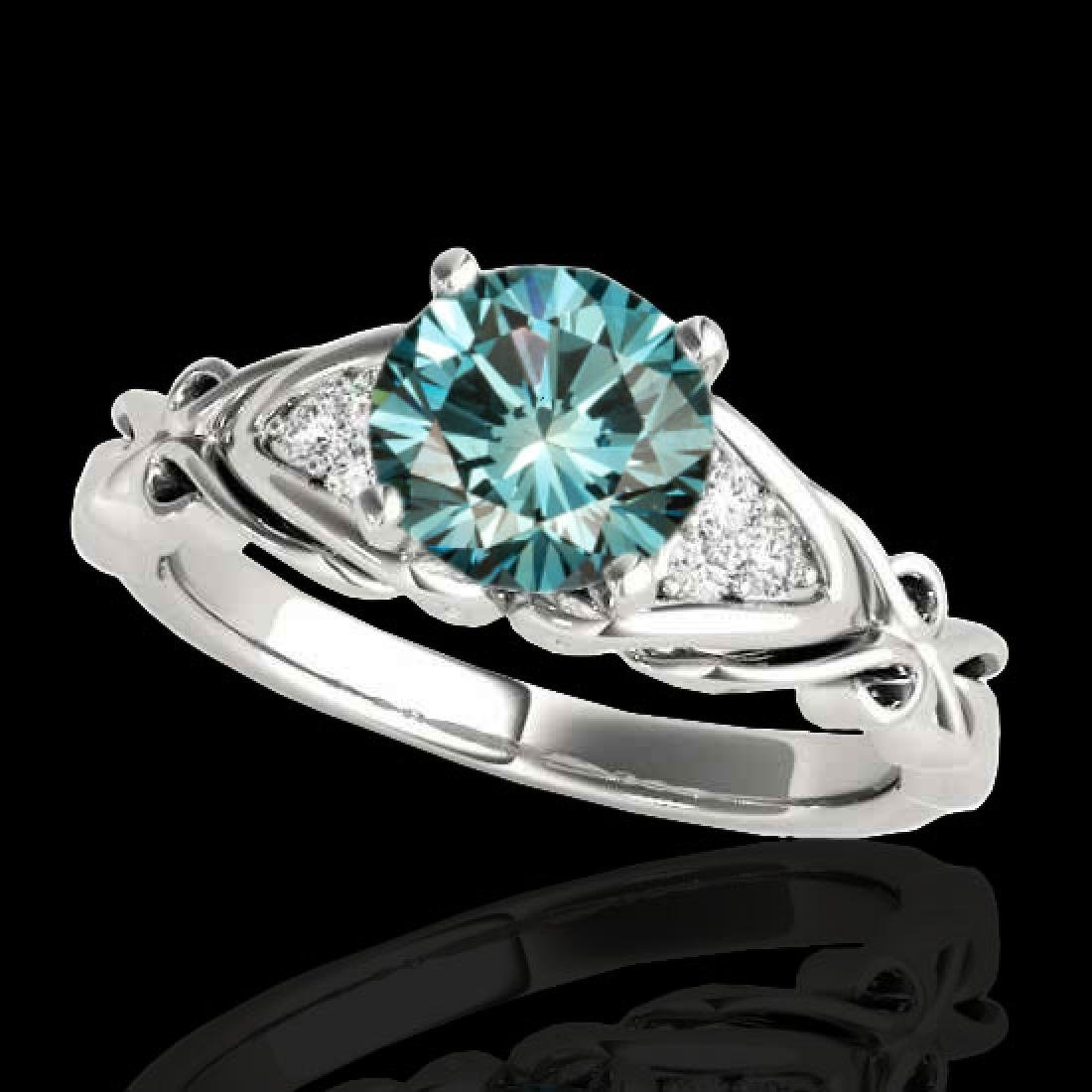 1.1 CTW SI Certified Fancy Blue Diamond Solitaire Ring