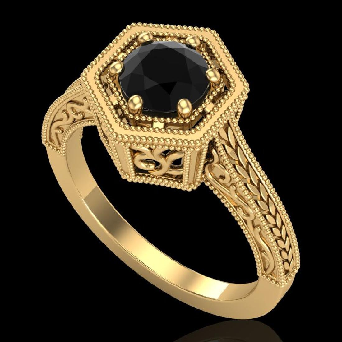 0.77 CTW Fancy Black Diamond Solitaire Engagement Art