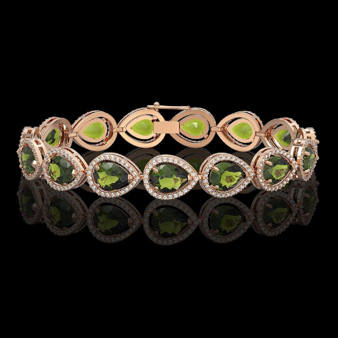 19.7 CTW Tourmaline & Diamond Halo Bracelet 10K Rose