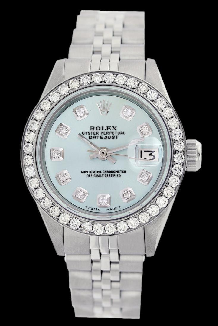 Rolex Ladies Stainless Steel, Diamond Dial & Diamond