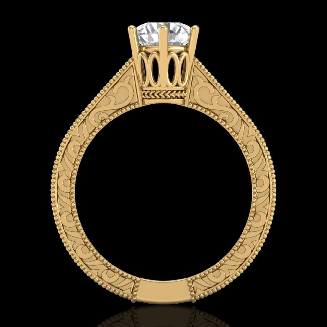 1 CTW VS/SI Diamond Solitaire Art Deco Ring 18K Yellow