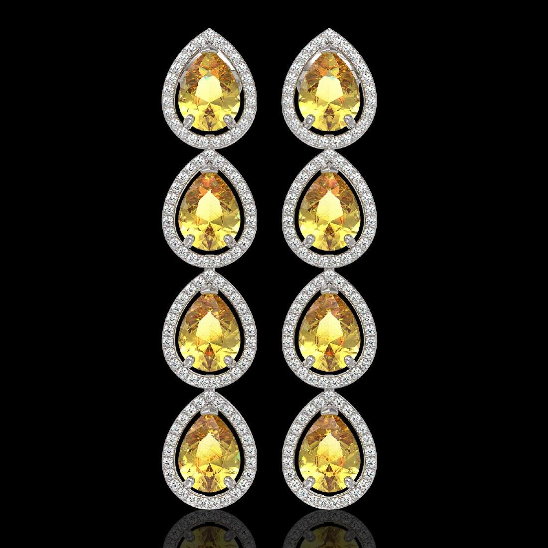 9.2 CTW Fancy Citrine & Diamond Halo Earrings 10K White