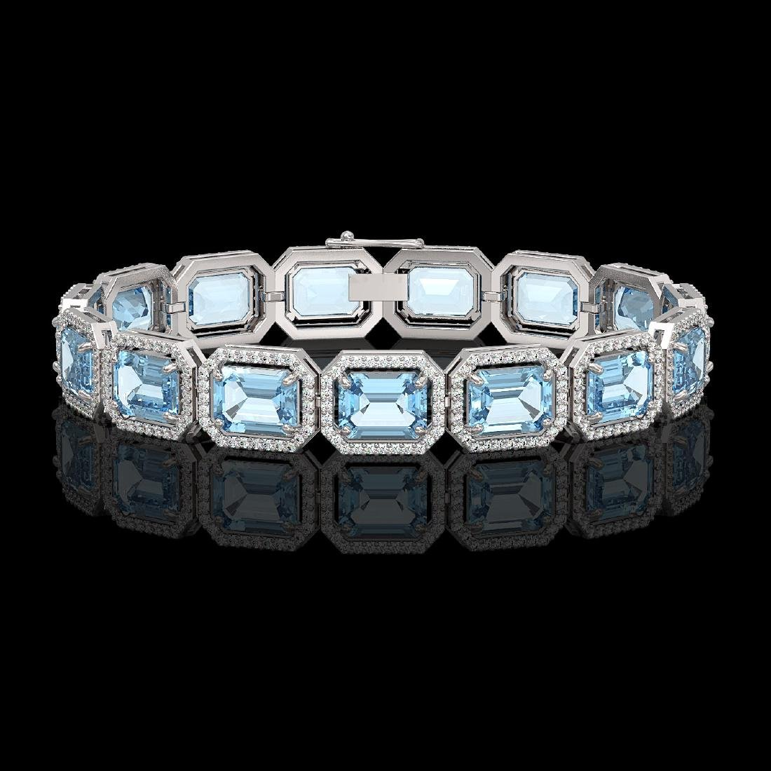 36.81 CTW Aquamarine & Diamond Halo Bracelet 10K White