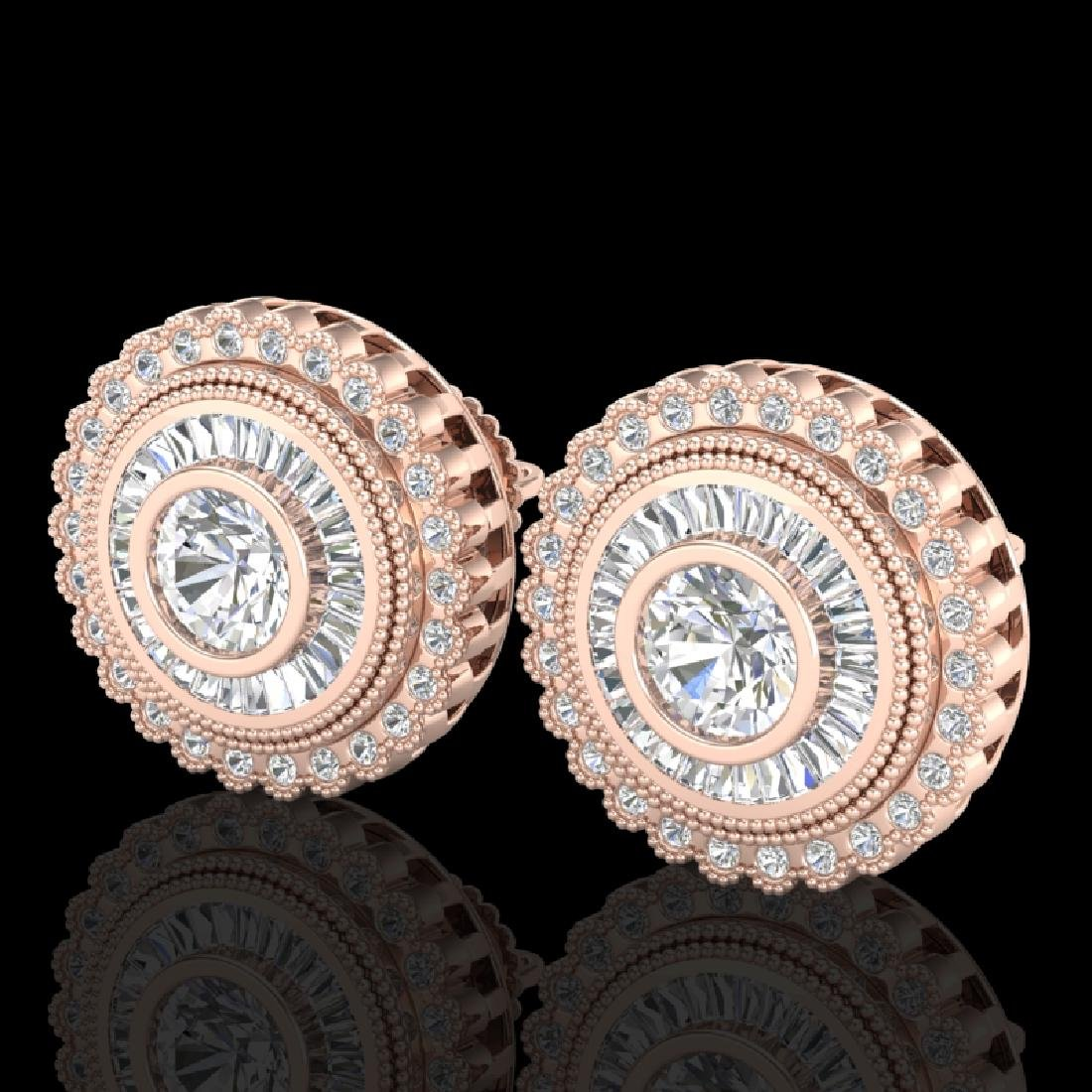 2.61 CTW VS/SI Diamond Solitaire Art Deco Stud Earrings