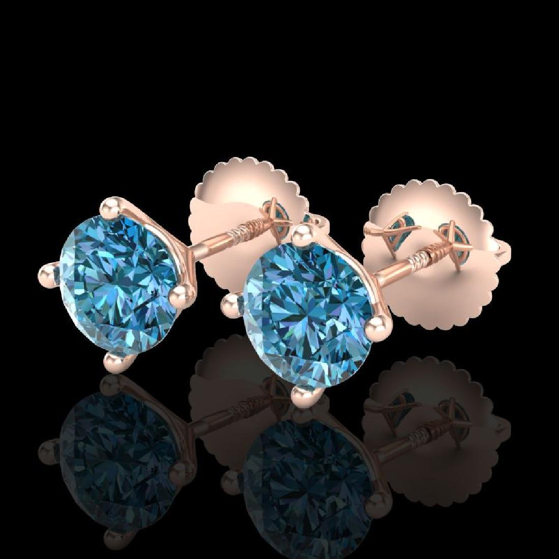 1.5 CTW Fancy Intense Blue Diamond Art Deco Stud