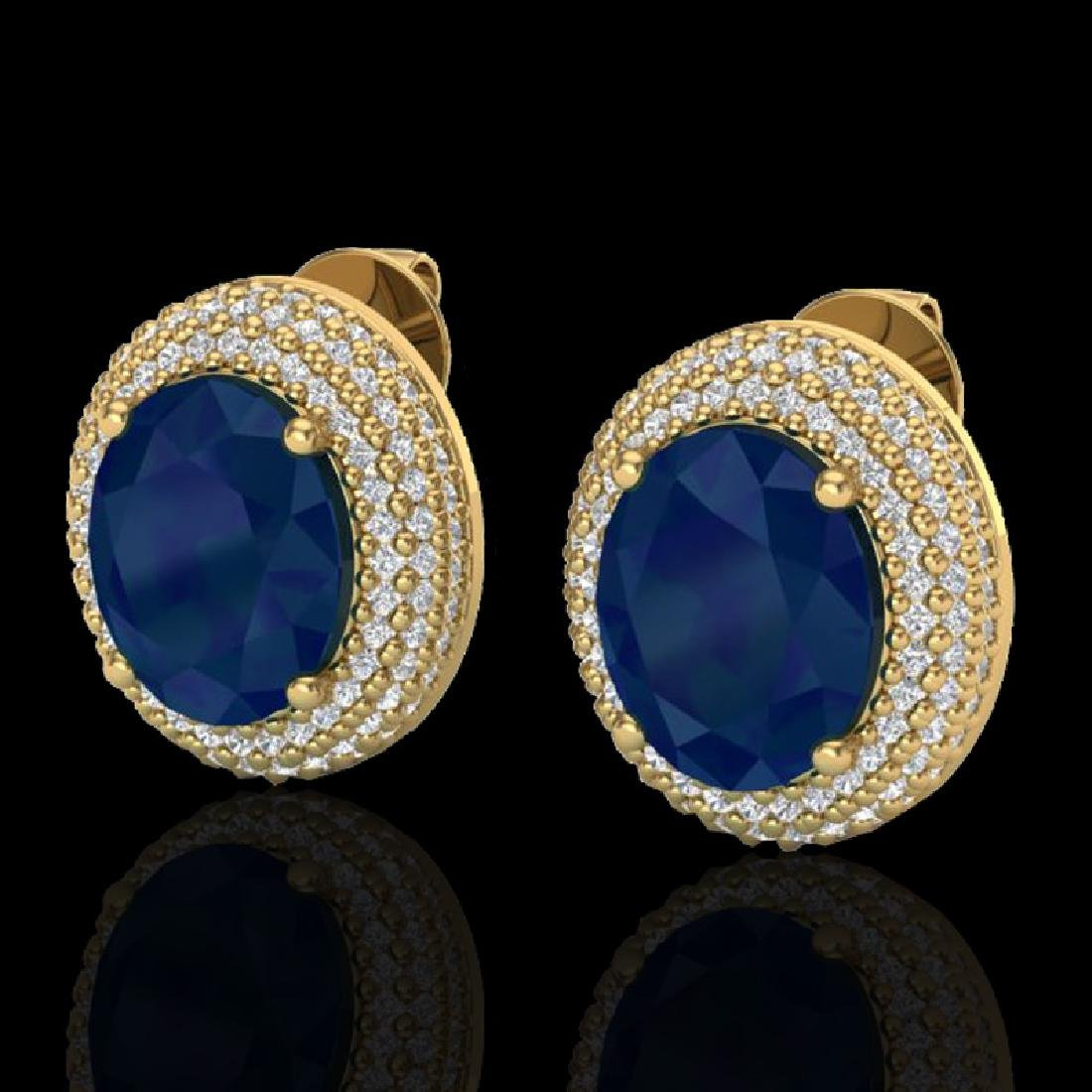 9.20 CTW Sapphire & Micro Pave VS/SI Diamond Earrings