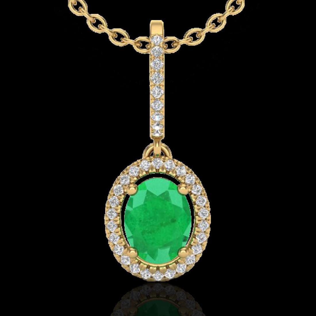 2 CTW Emerald & Micro Pave VS/SI Diamond Necklace