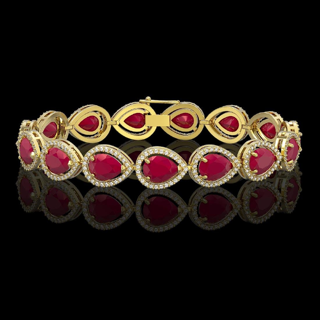 30.06 CTW Ruby & Diamond Halo Bracelet 10K Yellow Gold