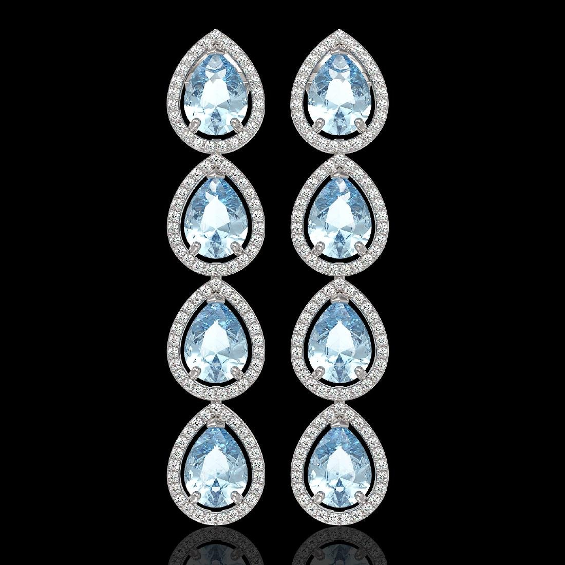 10.56 CTW Aquamarine & Diamond Halo Earrings 10K White