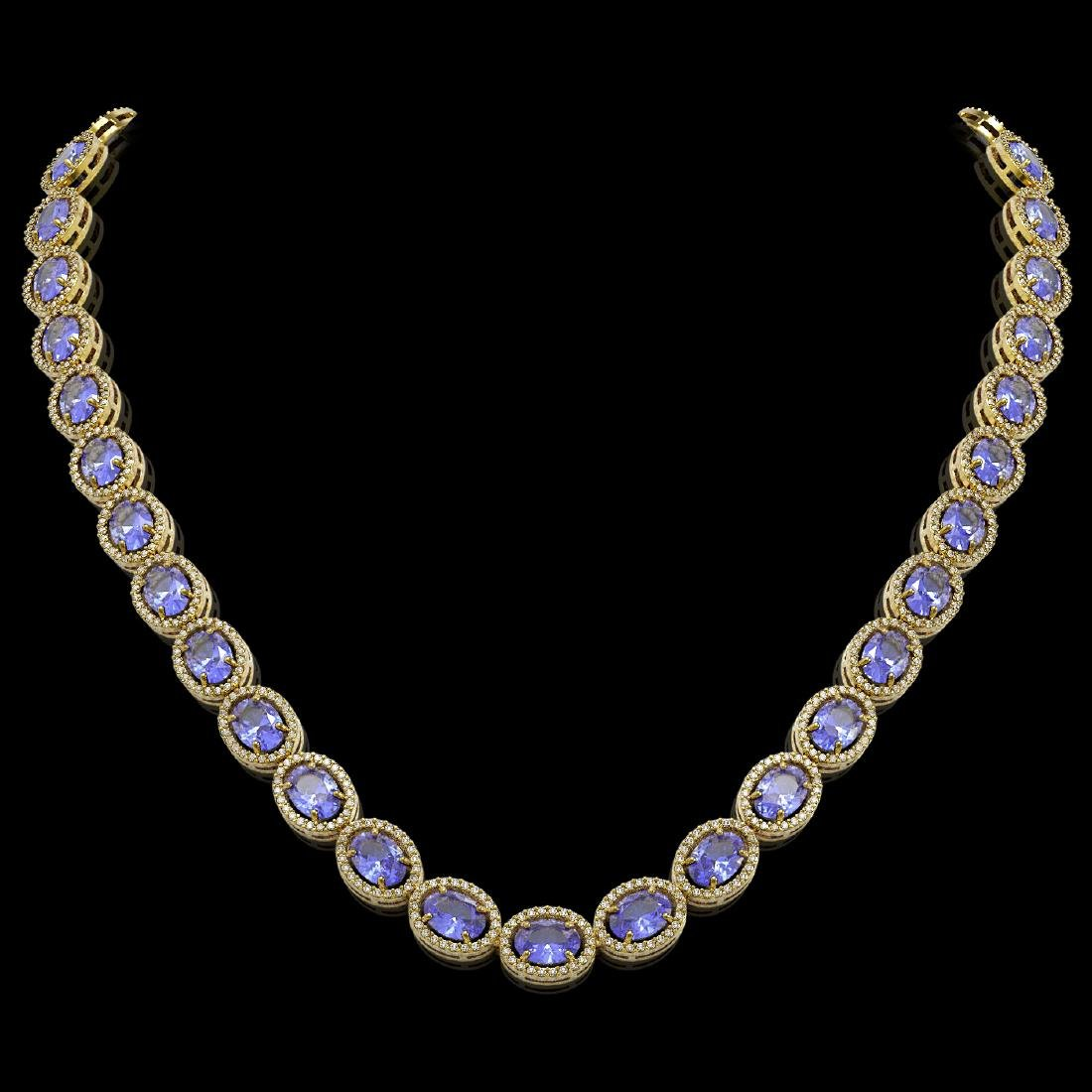 48.65 CTW Tanzanite & Diamond Halo Necklace 10K Yellow