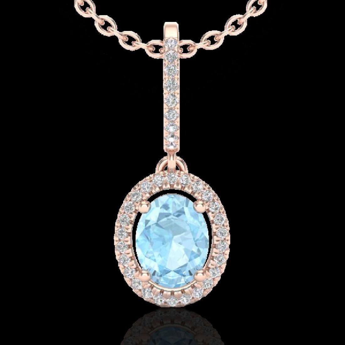 1.75 CTW Aquamarine & Micro VS/SI Diamond Necklace Halo