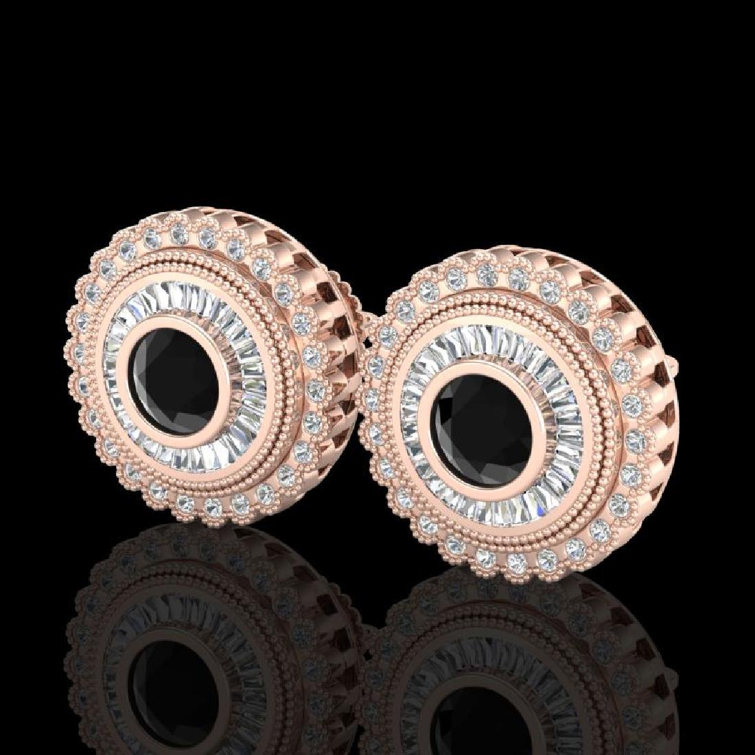 2.61 CTW Fancy Black Diamond Solitaire Art Deco Stud