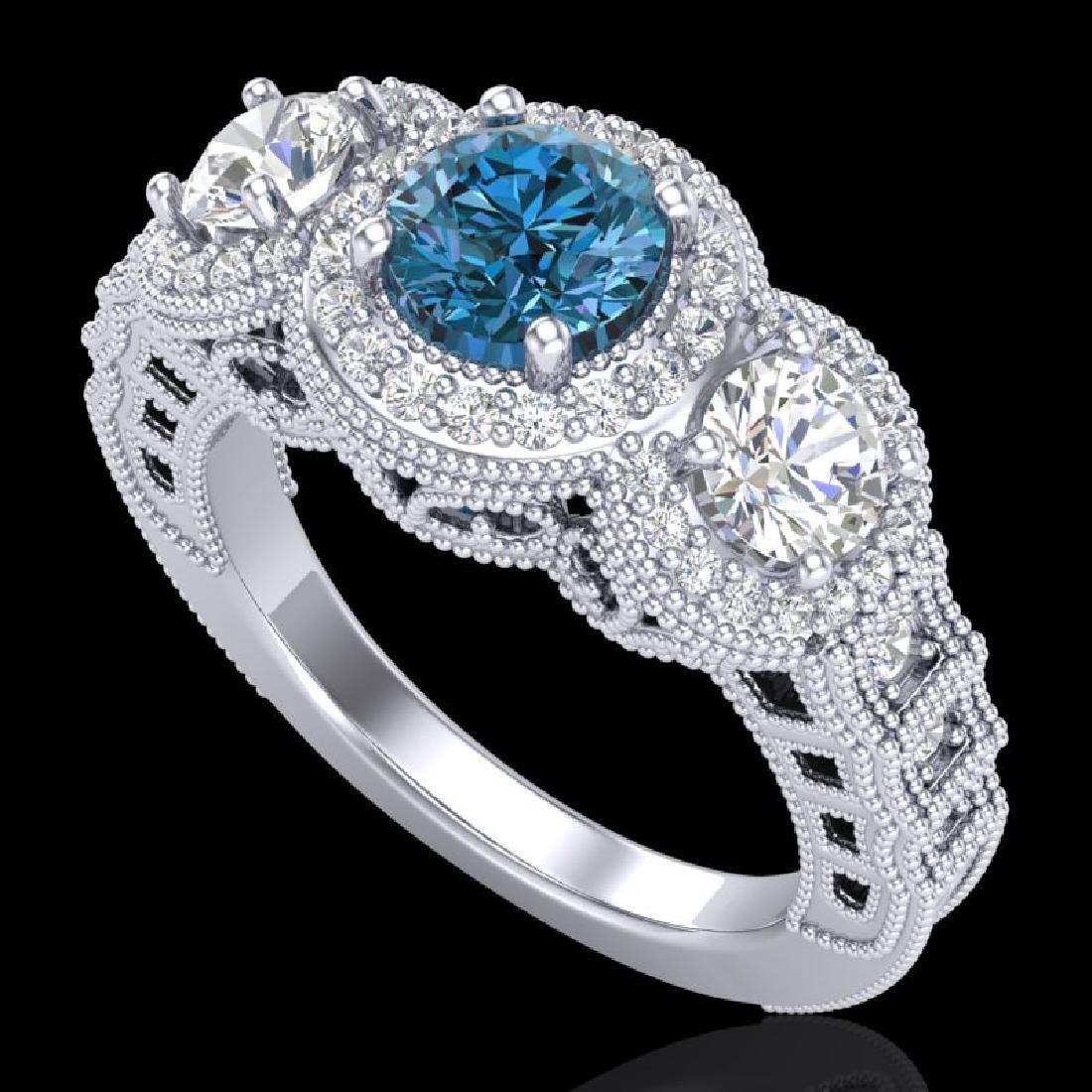 2.16 CTW Intense Blue Diamond Solitaire Art Deco 3