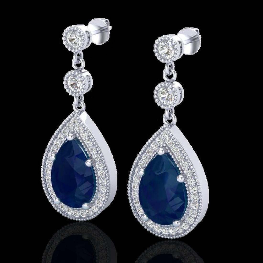 6 CTW Sapphire & Micro Pave VS/SI Diamond Earrings