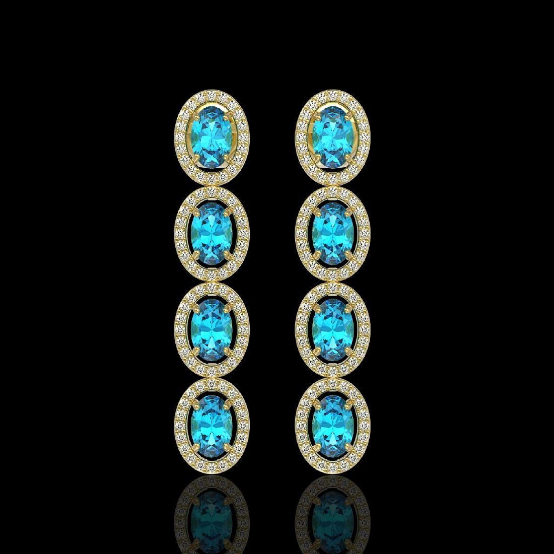6.28 CTW Swiss Topaz & Diamond Halo Earrings 10K Yellow