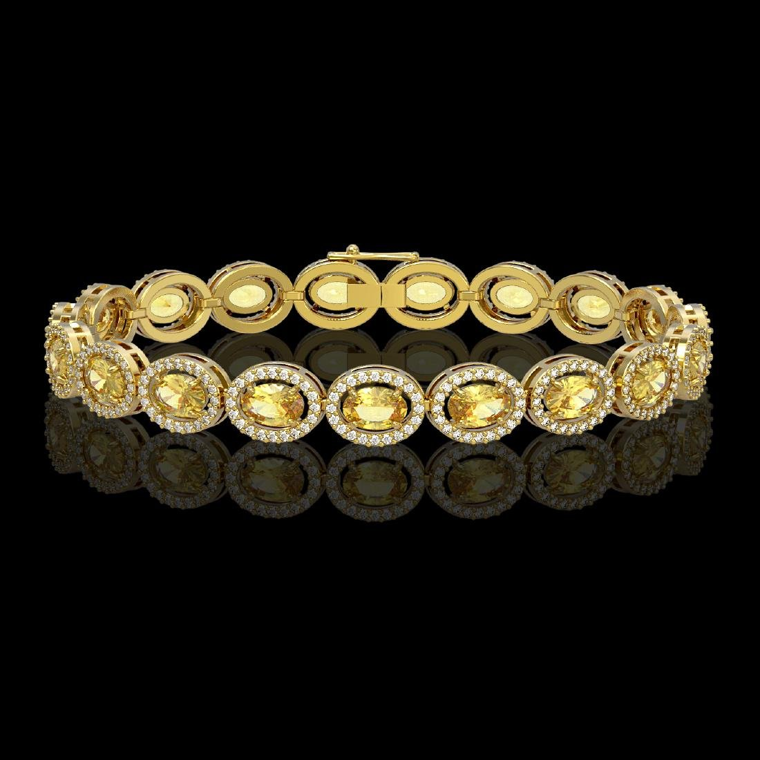 12.73 CTW Fancy Citrine & Diamond Halo Bracelet 10K
