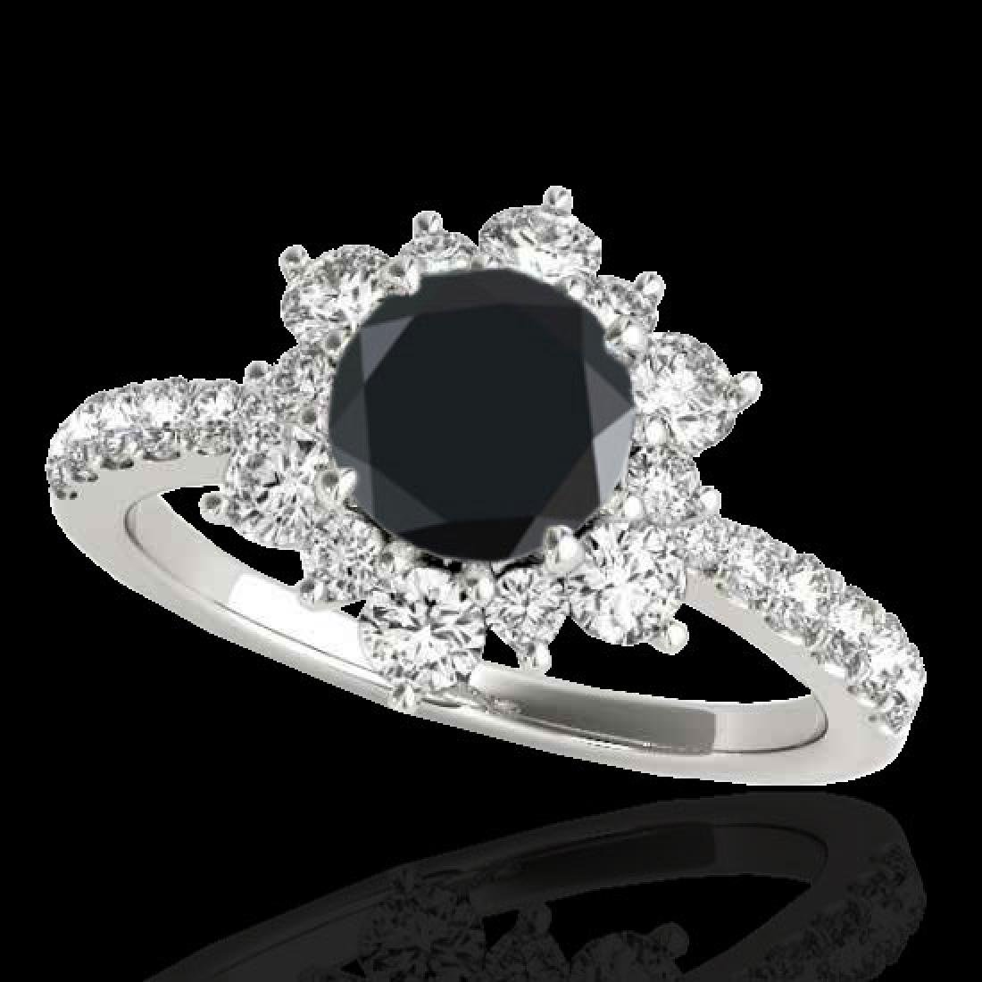 2.19 CTW Certified VS Black Diamond Solitaire Halo Ring