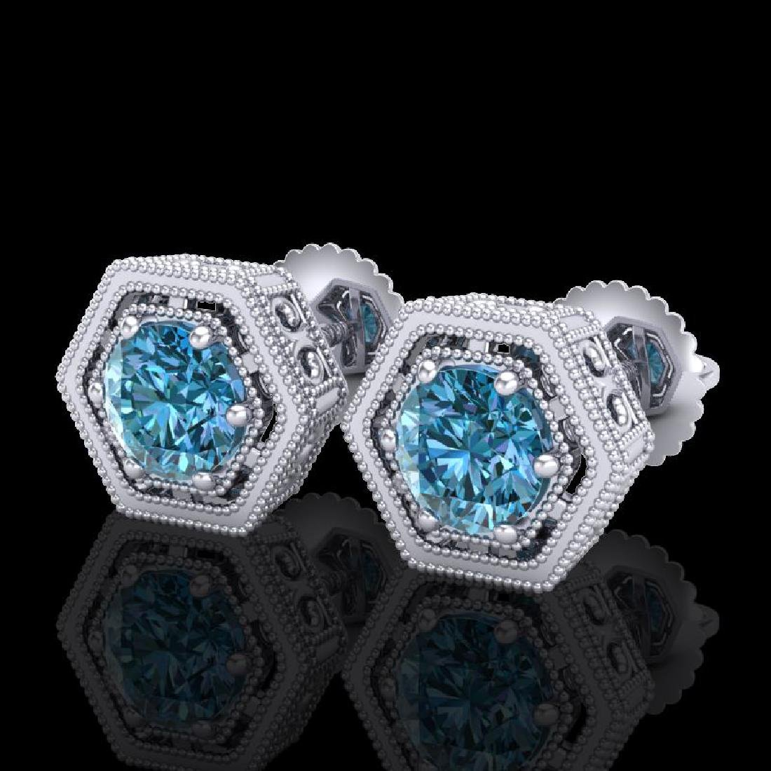 1.07 CTW Fancy Intense Blue Diamond Art Deco Stud