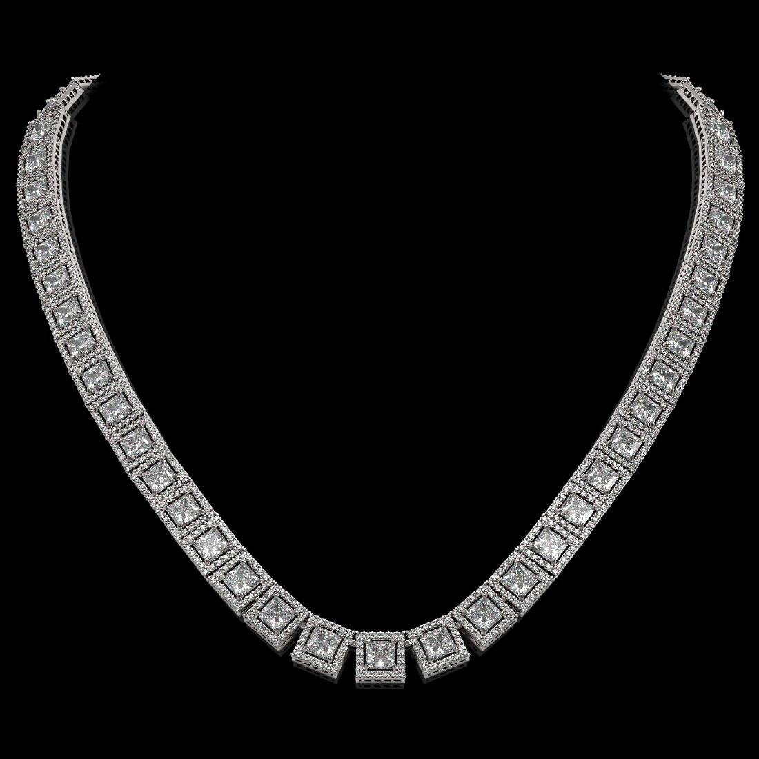 36.30 CTW Princess Diamond Designer Necklace 18K White