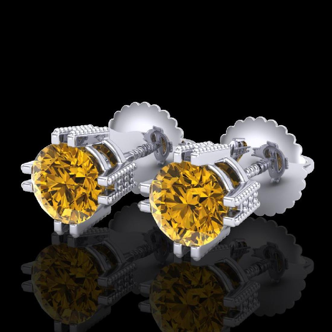 1.07 CTW Intense Fancy Yellow Diamond Art Deco Stud