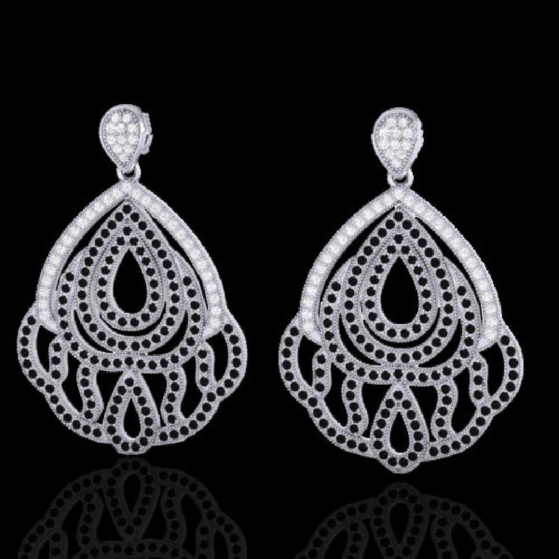 3 CTW Micro Pave Black & VS/SI Diamond Earrings