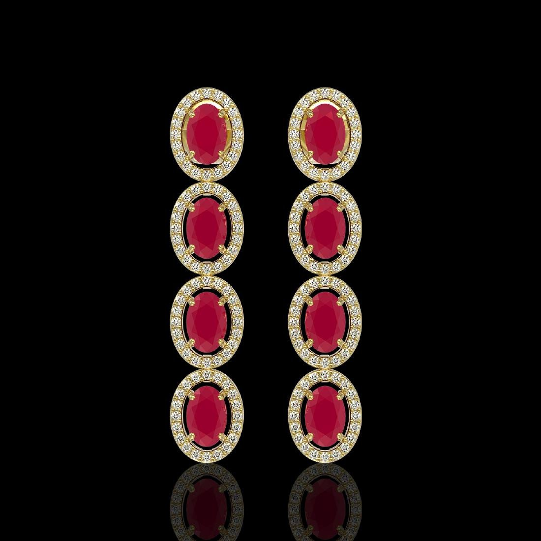 6.47 CTW Ruby & Diamond Halo Earrings 10K Yellow Gold